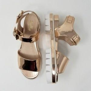 NWB Shellys London Dita Platform Sandal Rose Gold